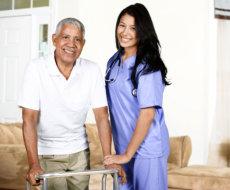 Elder male and female caregiver